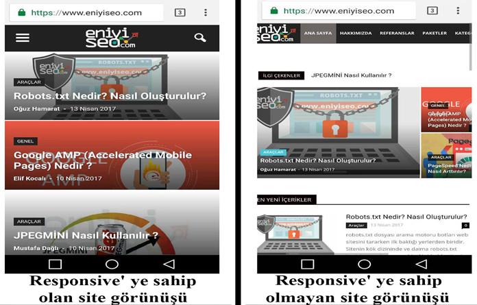 Responsive olan ve olmayan site görüntüsü