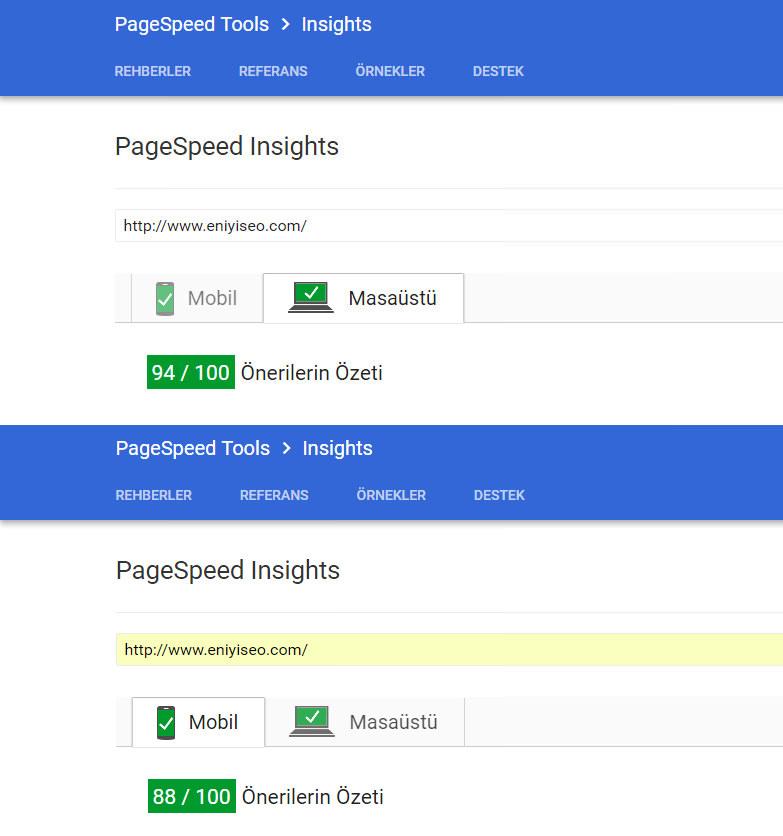 PageSpeed hızımız