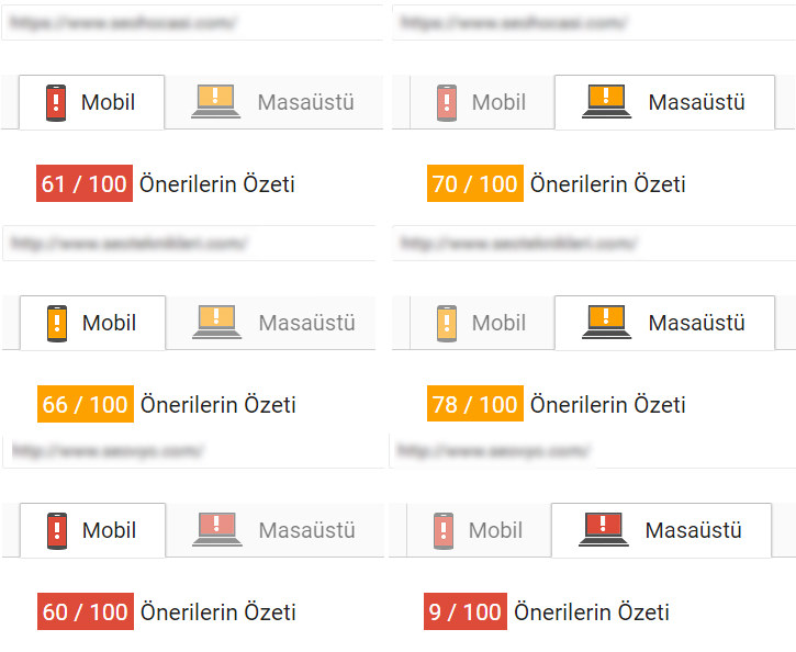 PageSpeed rakip hızları